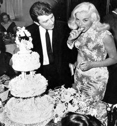 WEDDING CAKE - Diana Dors marries Richard Dawson (future host of ABC-TV's game show series 'Family Feud' - 1961
