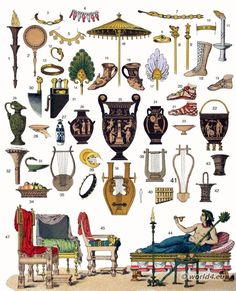 Ancient Greek furniture and cultural items