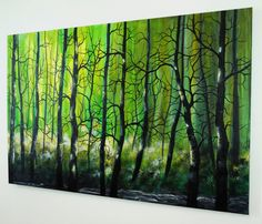 Large Abstract Contemporary Misty Forest Landscape Tree
