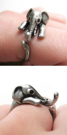 elephant ring no one can be bummed with an itty bitty elephant friend with them - I LOVE IT!!! I want it!! <3
