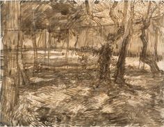 Vincent Van Gogh: Trees in the Garden Saint-Rémy: May, 1889 (Otterlo, Kröller-Müller Museum) Vincent Van Gogh, Artist Van Gogh, Van Gogh Art, Van Gogh Drawings, Van Gogh Landscapes, Garden Drawing, Impressionist Artists, European Paintings, Les Oeuvres