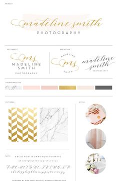 Gold Watercolor Logo Design Marble Leaves Photography Branding Kit Premade Blush Board Squarespace Template Boutique Blogger Watermark Stamp