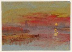 """William TURNER/""""The scarlet sunset"""", 1830. deze akwarel moet Monet bekend zijn geweest toen hij 'Impression, soleil levant' schilderde, het schilderij waaraan het impressionisme zijn naam te danken heeft"""