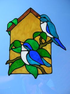 Spring birds outside birdhouse stained glass window Cling