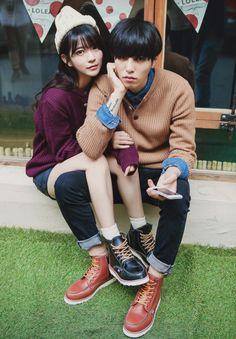 Korean couple style Matching Couple Outfits, Matching Couples, Cute Couples, Young Couples, Korea Fashion, Boy Fashion, Kids In Love, Stylish Couple, Korean Couple