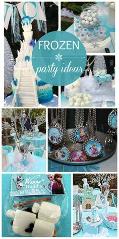 Frozen girl birthday party with a gorgeous cake, decorations and fun activities! See more party ideas at CatchMyParty.com