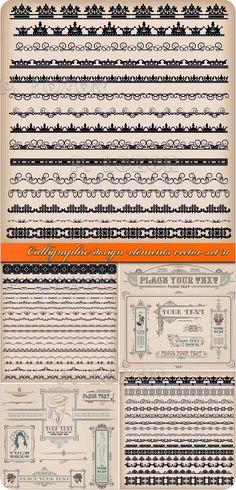 Calligraphic design elements vector set 31