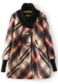 Plaid Zipper Wool Coat