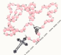 Pink Girl's Cross Rosary Imitation Pearl Beads Alloy Necklace #eozy