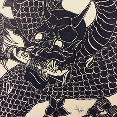 • 龍と悪魔 • 5 hours alone with a sharpie and this happens. I tried to make a traditional Japanese oni snake tattoo design. I think it's a little wonky in areas but hey, sharpies are dope lol #oni #illustration #japanese #traditional #tattoo #snake #dragon #sharpie #doodle #art #claws #badass