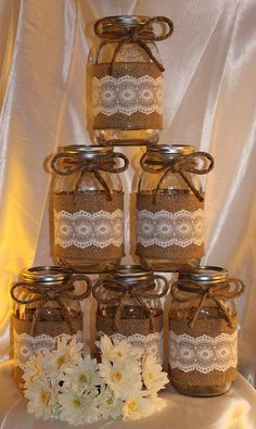 Items similar to Wedding jars. 6 - burlap and lace. on Etsy Home Crafts, Kids Crafts, Diy And Crafts, Mason Jar Crafts, Bottle Crafts, Wedding Jars, Lace Wedding, Deco Champetre, Jar Art