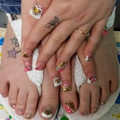 Flair Nails, matching pedi.  Valentines Nails