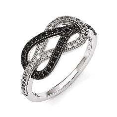 Sterling Silver & Black And Clear CZ Brilliant Embers Polished Ring