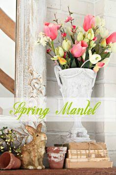 spring mantel decorating ideas   Lots of ideas for decorating a spring mantel   Home Decor