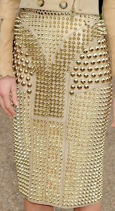 Burberry Studded Gold Skirt #womensfashion