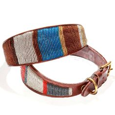 Whippet Or Lurcher Leather Beaded Dog Collar