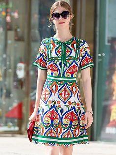 Folk Print O-Neck Lacing Short Sleeve Fit Flare Dress