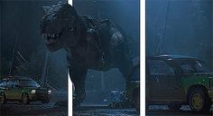 With the addition of simple vertical lines, ordinary animated images are transformed into gifs. Each gif appears to leap from the computer screen! T Rex Jurassic Park, Jurassic World Dinosaurs, Jurassic Park World, Jurassic Movies, Gifs 3d, Fiction Movies, Falling Kingdoms, Classic Paintings, Gif Animé