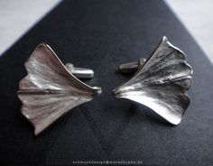 Ginkgoblatt - Ginkgo Manschettenknöpfe 925 Silber Geschenk Symbol für Lebenskraft