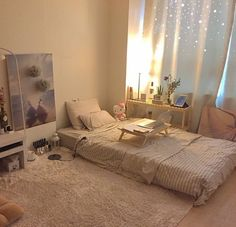 How to Create the Minimalist Dorm Room of Your Dreams - spaces/ interior/ home - Room Ideas Bedroom, Small Room Bedroom, Home Bedroom, Bedroom Decor, Bedroom Loft, Korean Bedroom Ideas, Night Bedroom, Study Room Decor, Bedroom Photos