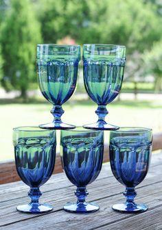 Blue vintage goblets » Ever After Vintage Weddings and Vintage Rentals Tampa