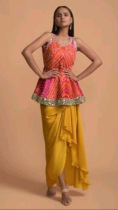 Dress Indian Style, Indian Fashion Dresses, Indian Designer Outfits, Indian Outfits, Designer Dresses, Indian Wear, Peplum Top Outfits, Peplum Tops, Mehendi Outfits