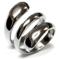 SS Wrapped Cocktail Ring, features a swirl of stainless steel that wraps perfectly around Sz9