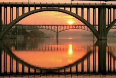 Henley & Gay Bridges on the Tennessee River in Knoxville, TN