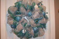 Christmas Deco Mesh Wreath by Cindywdesigns on Etsy, $75.00