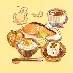 Cute Food Drawings, Kawaii Drawings, Cute Food Art, Cute Art, Aesthetic Food, Aesthetic Anime, Food Illustrations, Illustration Art, Food Art Painting