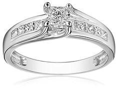 IGI Certified 14k White Gold Princess Diamond Three-Stone Engagement Ring (1 1/2cttw, H-I Color, I1-I2 Clarity), Size 8