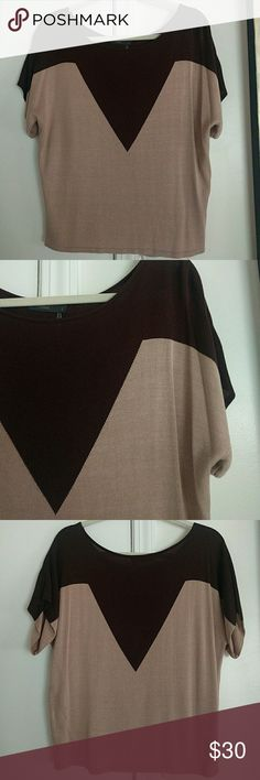 THML top NWOT. Never worn. Cute! Purchased from Ambiance SF, never worn. Perfect condition. Brown and nude beige. THML Tops