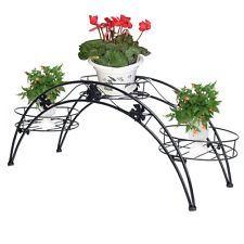 Elegante En Maceta Planta De Jardín Patio Metal Arco Rack 3 Titulares Flor Soporte de exhibición