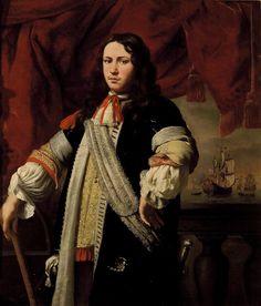 Ferdinand Bol Portrait of Engel de Ruyter, o/c, 131 x 112 cm., Mauritshuis, The Hague Antique Frames, Old Frames, Rembrandt, Ferdinand Bol, Spanish King, Stuck, Museum, Cool Guns, Trumpets