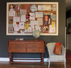 """This is a great family center board - the framing makes it look """"put together,"""" and the clock is perfect!  This would be nice above the dining room buffet/craft storage."""