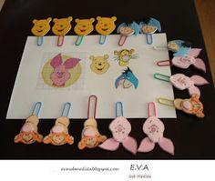 Clips decorados com a Turma do Ursinho Pooh, em EVA