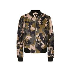 TopShop Pink Camo ma1 Bomber Jacket ($87) ❤ liked on Polyvore featuring outerwear, jackets, pink, camouflage jacket, camo utility jacket, pink jacket, blouson jacket and camoflage jacket