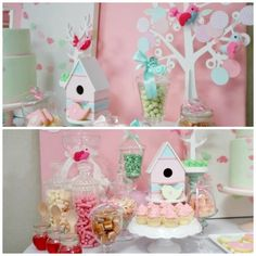 Pink and Mint Bird Theme First Birthday Party
