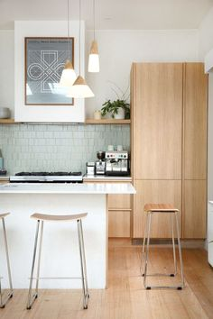 Wooden kitchen pendant lights