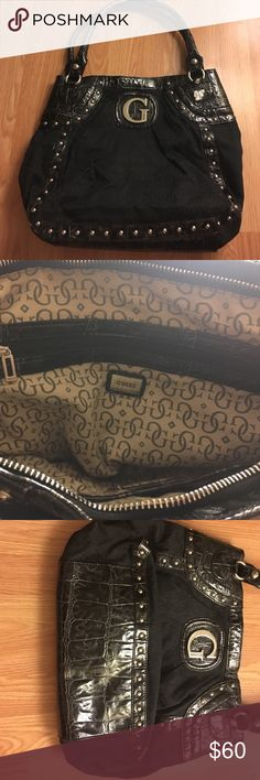 🎉🎉 FINAL SALE🎉🎉👜Guess black handbag Large beautiful handbag. Looks great and matches just about everything! Has a minor scratch (as shown in the last picture). 👜 Guess Bags Totes
