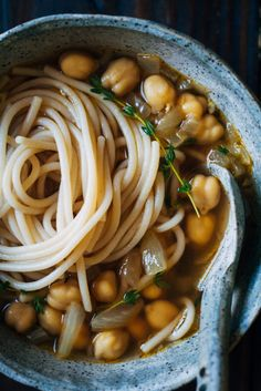 Chickpea Noodle Soup w/ Fresh Thyme | Well and Full | #vegan #soup #recipeChickpea Noodle Soup w/ Fresh Thyme | Well and Full |