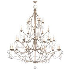 Livex Lighting Chesterfield 30-Light Antique Silver Leaf Chandelier