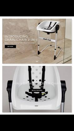 The new @charlichair 2-in-1 shower chair & bath tub in 1. #charlichair #bathtub