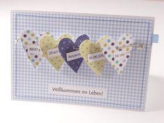 Baby & Geburt - Personalisierte genähte Karte zur Geburt - ein Designerstück von Gluecklichesherz-Bianca bei DaWanda