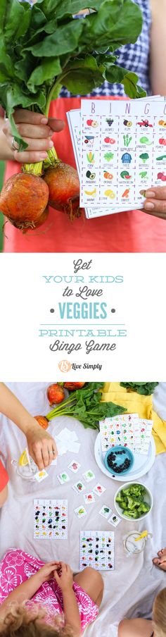 Teach your kids to love fruits and veggies with this FREE PRINTABLE FRUIT AND VEGGIE BINGO GAME! http://livesimply.me/2015/06/23/get-your-kids-to-love-veggies-the-live-simply-fruit-and-veggie-bingo-game/