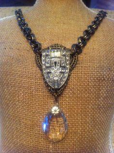 Vintage Rhinestone Art Deco Shoe Clip Necklace with by BelleVia