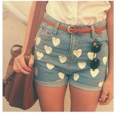 HEART SHORTS Http://teeninsiders.wordpress.com/2013/06/10/diy-heart-shorts-2/Heart 1. A pair of plain shorts (any colors) 2. Heart stencils 3. Fabric paint (white) It's pretty easy. All you need to do is to dip the stencil in the white paint and then put it on the shorts. You don't want the hearts to connect or make it look all cramped up together. You want to space it out but not too much.