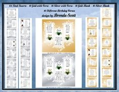 - Birthday Insert to fit 8 x 8 Cards. 64 total Inserts - you will receive 16 Gold with Verse 16 Silver with Verse 16 Gold. 8th Birthday, Card Making, Mini, Cards, 8th Anniversary, Maps, Handmade Cards, Playing Cards, Cards To Make