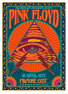 psychedelic PINK FLOYD Poster at the Fillmore East 1989 with very inspiring illustration. Arte Pink Floyd, Pink Floyd Poster, Poster Wall, Poster Prints, Gig Poster, Poster Collage, Phish Posters, 80s Posters, Hippie Posters