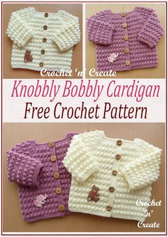 Knobbly baby cardi - An ideal garment to slip on over a top, dress or boys shirt. The pattern for this design is in a raised textured stitch comprising of just two rows. A soft cuddly cardigan which will give baby that extra bit of warmth when requ Crochet Baby Cardigan Free Pattern, Cardigan Bebe, Crochet Baby Sweaters, Baby Sweater Patterns, Crochet Cardigan Pattern, Crochet Baby Clothes, Baby Knitting Patterns, Baby Patterns, Knitted Baby Cardigan